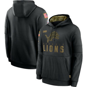 Men's Detroit Lions Hoodie 2020 Salute to Service Sideline Therma Pullover Coat