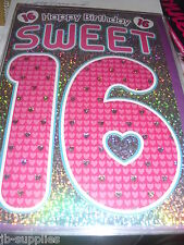 AGE 16 HAPPY BIRTHDAY CARD 16TH SWEET SIXTEEN GIRL SILVER/PINK