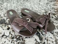 OKA-B Okabashi Sandal brown Flip Flop Slides w/Bow  Size S (5-6)