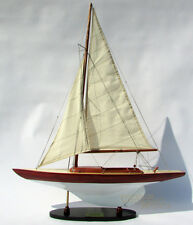 "24"" Dragon Wooden Sailing Boat Model Stained & White Painted"