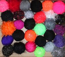 431g Job Lot Mixed Wool/Yarn 31 Balls/texture Halloween Colours Black Red Purple