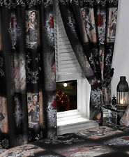 """66"""" x 72"""" ALCHEMY GOTHIC CURTAINS EMO STORY OF THE ROSE WOMEN BLACK ROSE RED"""