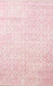 Pink Contemporary Modern Oriental Area Rug Wool Handmade Distressed Carpet 6x8
