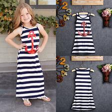 Fashion Kids Girls Red Sequin Anchor Maxi Long Beach Dress Striped Boho Sundress