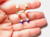 Red White Blue Crystal Bead Dangle Clip On Patriotic Earrings Vintage