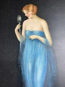 1920's Pin Up Flapper Girl Art ORIGINAL Print Archie Gunn Blue Dress Microphone