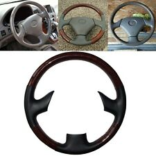 Black Leather Wood Steering Wheel Cover for 99-03 Lexus RX300 GS300 GS400 GS430