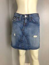 True Religion Light Wash Distressed Denim Skirt Size 25