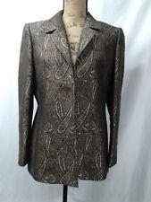 KASPER Open Blazer Jacket - Paisley  - Gold Black & Brown  - Size 10