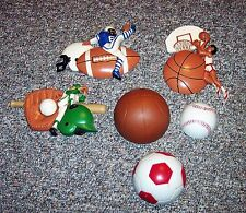 Homco ? Burwood Sports Wall Plaques Lot of 6 Football Basketball Baseball Guc