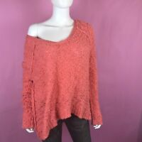 Free People Pullover Sweater Sz S Peach Songbird Oversized Textured V-Neck Comfy