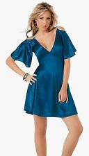4055 Sexy Electric Blue Metallic Cocktail Mini DRESS Club wear Flare Party S M L