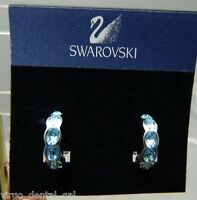NOS SWAROVSKI Signed Silver Tone Large Lt. Blue Austrian Crystal Clip Earrings