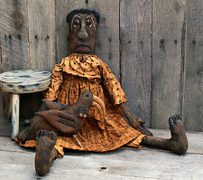 PATTERN Primitive Raggedy Black Mammy Doll and Crow Ornie FREE SHIPPING TBP