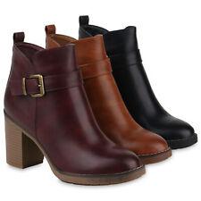 Damen Ankle Boots Gefütterte Stiefeletten Schnallen Booties 832094 Schuhe