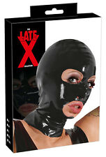 Maschera in lattice nero Latex Sexy Fetish Bondage Erotic cappuccio integrale