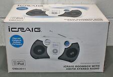 Craig iCraig iPod Dock Boombox CMA3011, AM/FM Stereo Radio, 30 Pin Charger
