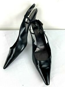 PRADA Black Patent Leather Kitten Heel Pointed Toe Slingback Shoes Heels Sz 39