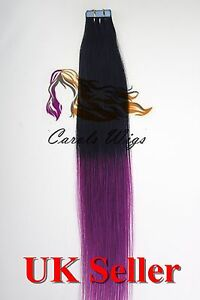 7A* Tape Skin 18'' Jet Black into Purple Russian Remy Human Hair Extensions UK