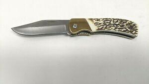 Handmade Folding Pocket Knife Liner Plain Edge Stag/Antler Handle Brass Bolster