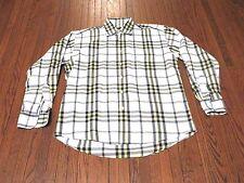 Men's Burberry London White Yellow Navy Plaid Button Down Long Sleeve Shirt sz M