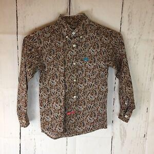 CINCH Western Shirt Boys Small 6-8 Long Sleeve Button Cotton Brown Paisley