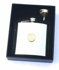 Royal Navy Gilt  6oz Hip Flask Military FREE ENGRAVING Gift Boxed BGK49