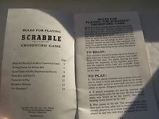 SCRABBLE, RULES, BOOKLET, GAME, USA, CROSSWORD, VINTAGE