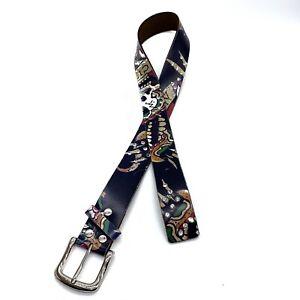 "Rhinestone Tattoo Print Belt Leather Stud Buckle Belt Size Small 31"""