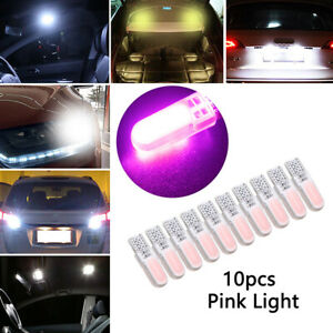 10pcs T10 194 W5W COB 2835 SMD 12LED Car License Light Bulb Super Bright Pink