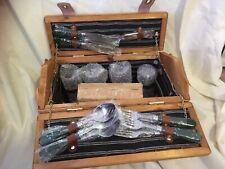 Picnic Basket With 4 Place Setting, Wine Glasses And Wine Key. Never Used.