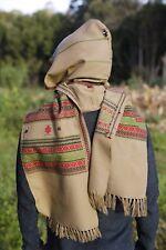 Handmade Hooded Scarf with Hood Light Wool Grey Brown, Earthy Tribal Pattern Fes