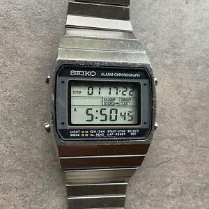 Seiko 1981 Alarm Chronograph LCD A939-5019 Stainless Steel Watch BG