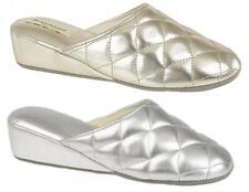 Dunlop SYBIL Ladies Womens Metallic Comfy Wedge Heel Quilted Mule Slippers New