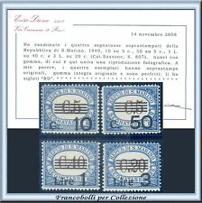 1940 San Marino Segnatasse Serie completa n. 60/63 Cert. Diena Nuovi Integri **