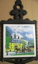 Vintage Cast Iron Pot Holder or Plate with Painted Tile of Williamsburg