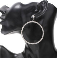 Large Hoop Earrings Silver Diamante Crystal Rhinestone Dangle Drop Wedding Party