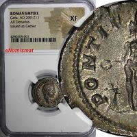 ROMAN EMPIRE Geta AD 209-211 AR Denarius as Caesar  NGC XF. Genius at Altar