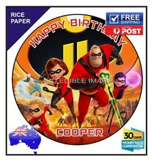Incredibles 2 edible image Rice paper birthday party cake topper round 19cm