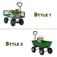 Garden Yard Lawn Dump Cart Dumper Wagon Carrier Utility Wheel barrow Heavy Duty