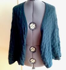 Laundry Beautiful Open Weave Green Teal Cashmere Bat Wing Cardigan Sweater L