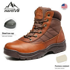 NORTIV 8 Mens Steel Toe Boots Breathable Safety Industrial Construction Boots US