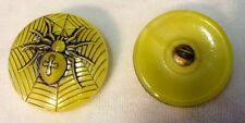 TWO (2) Gorgeous MOONGLOW SPIDER BUTTONS  - Yellow