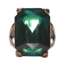 Lavish Majestic Emerald Green Stone & Signet Style Metal Ring  (A23/zx124/271