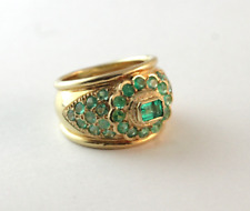 Columbian Natural Emerald 18k Yellow Gold Dome Ring Size 7