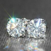 14K White Gold Finish 2.00 Ct Round Moissanite Engagement Solitaire Stud Earring