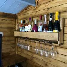 Country style reclaimed large oak waxed wooden wine rack - display shelf