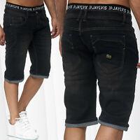 Jaylvis Short en jean pour homme Short d'été Bermuda taille élastique Denim