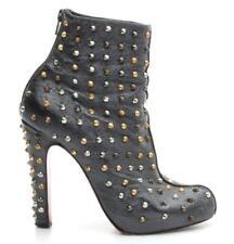 SOPHIA BUSH Christian Louboutin Anthracite Studded Ariella Boots Size 38.5
