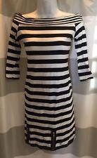 LIPSY Black White Striped Stretch Mini Dress. Gold Zipper. US 4/UK 8. SEXY.